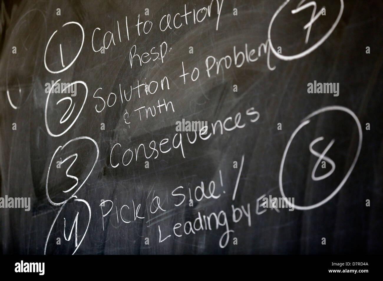 classroom words written in chalk on a blackboard - Stock Image