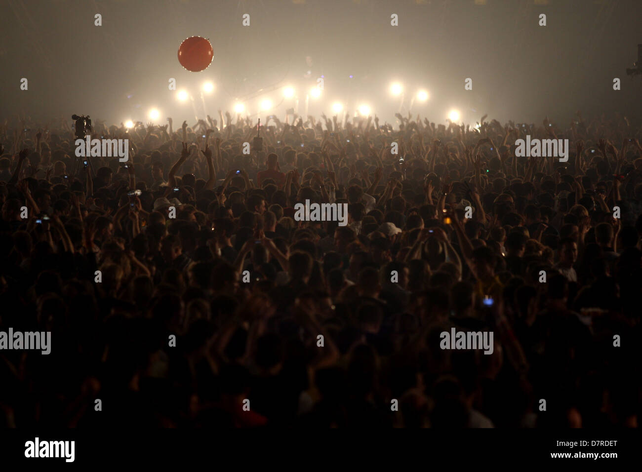 Large crowds of partygoers at Trance Energy EDM event - Stock Image