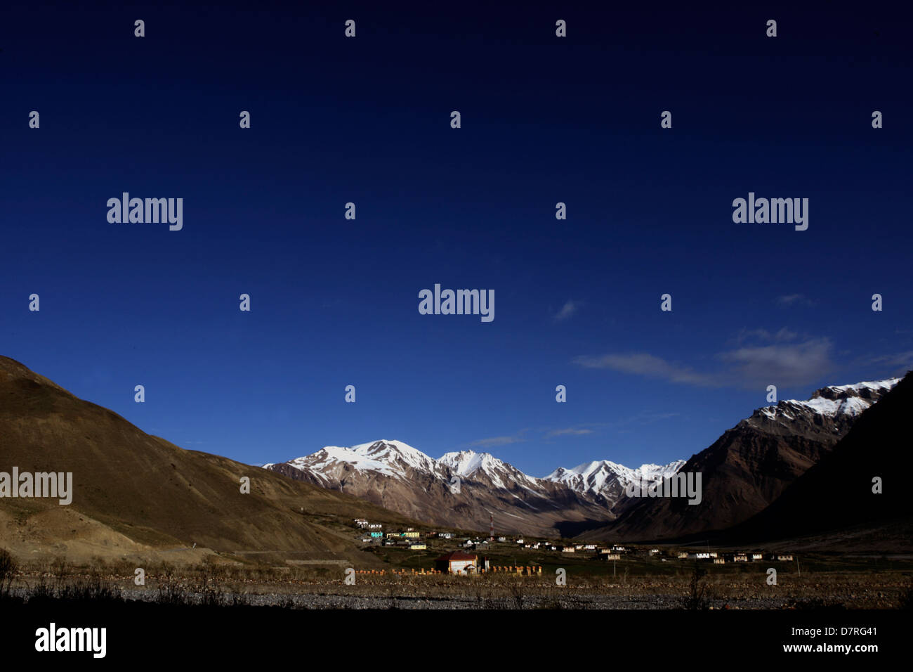 Landscape of Lossar in Spiti valley of cold desert in Himachal Pradesh, India - Stock Image