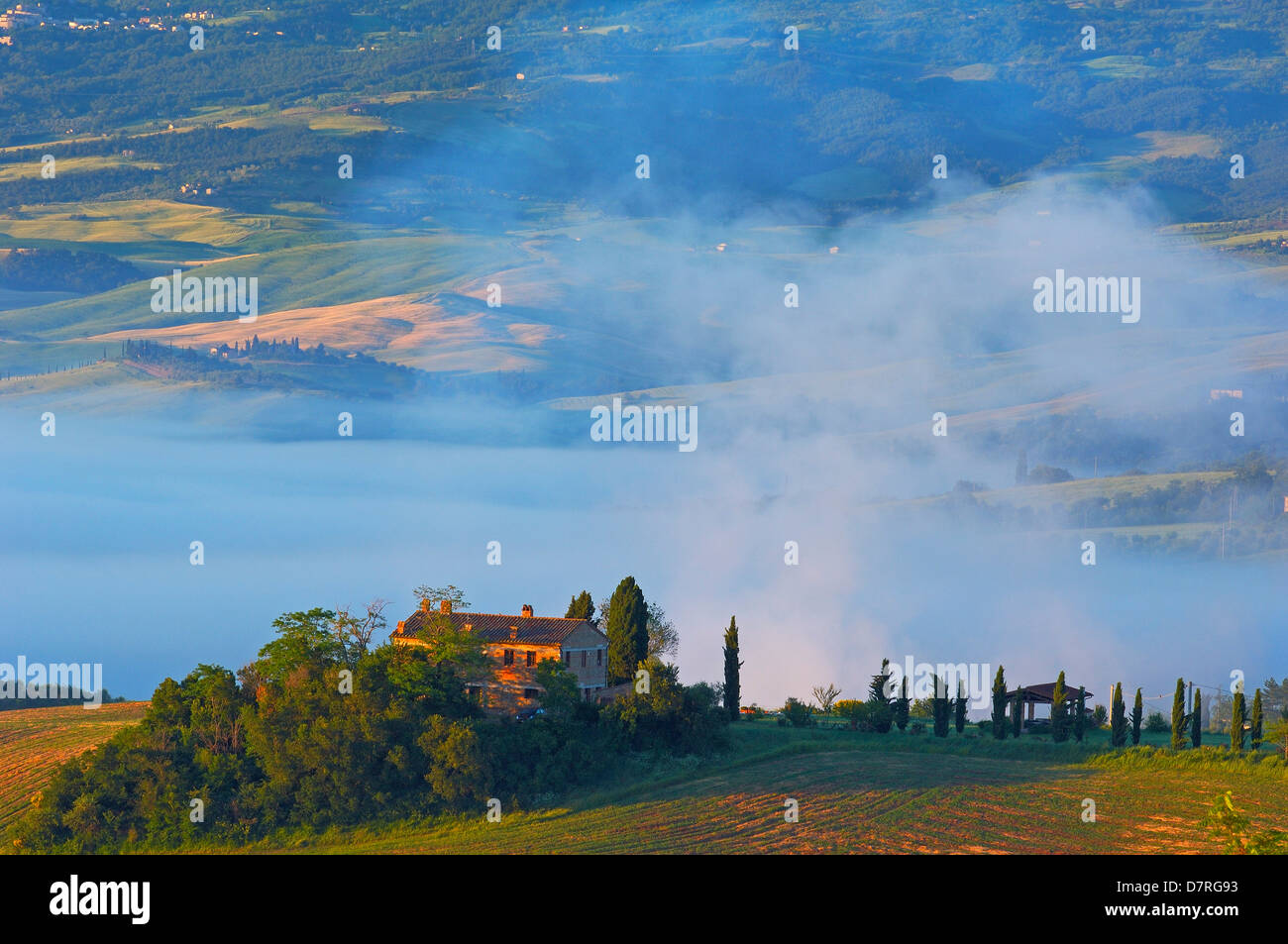 Val d'Orcia. Orcia Valley at dawn. Morning fog. UNESCO World Heritage Site. San Quirico d'Orcia. Siena Province. - Stock Image