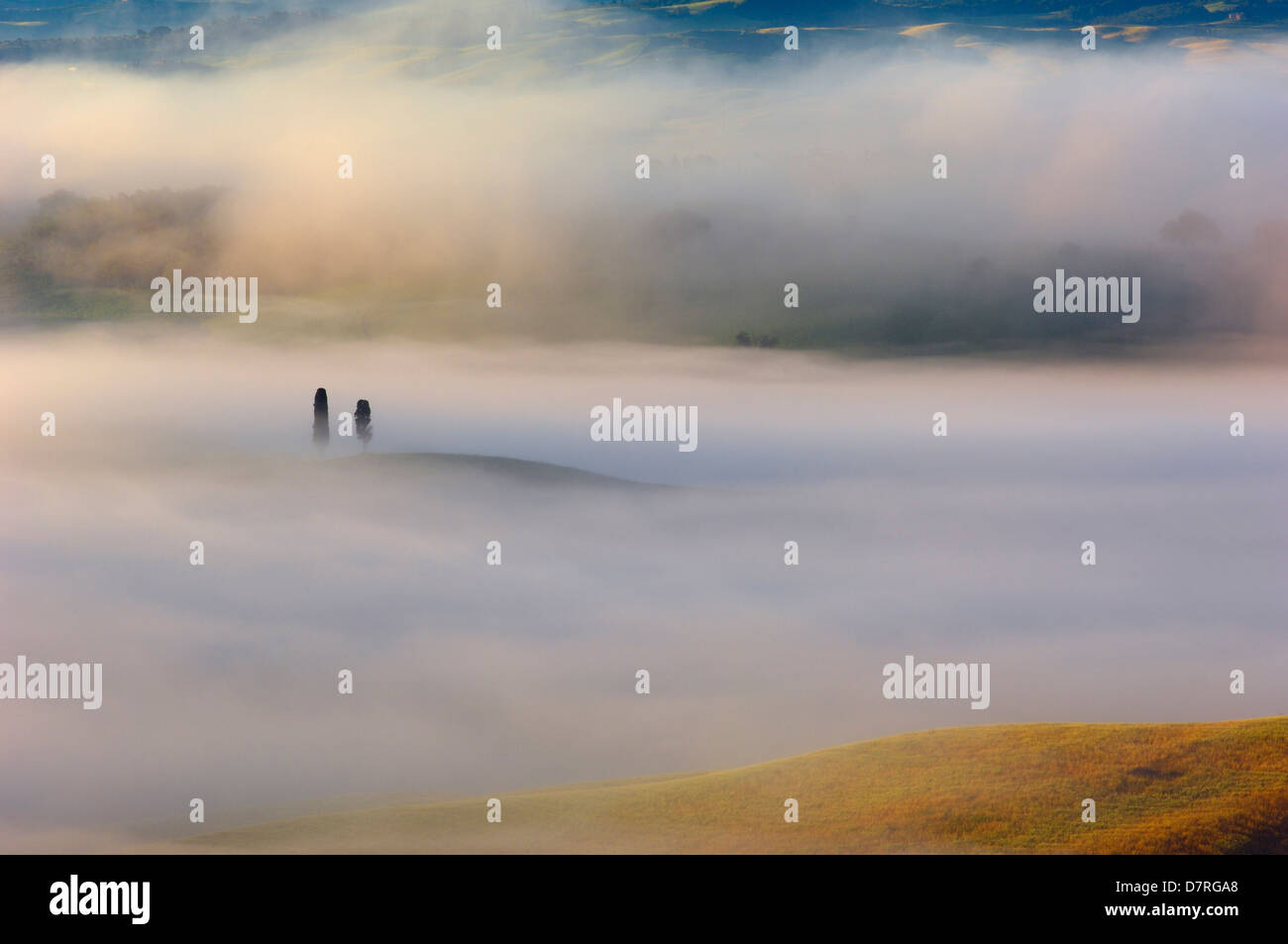 Val d'Orcia. Orcia Valley at dawn. Morning fog.UNESCO World Heritage Site. San Quirico d'Orcia. Siena Province. - Stock Image