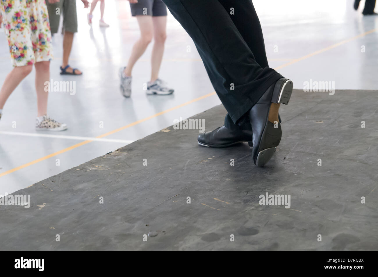Tap dancer instructor Close up of the feet and shoes - Stock Image