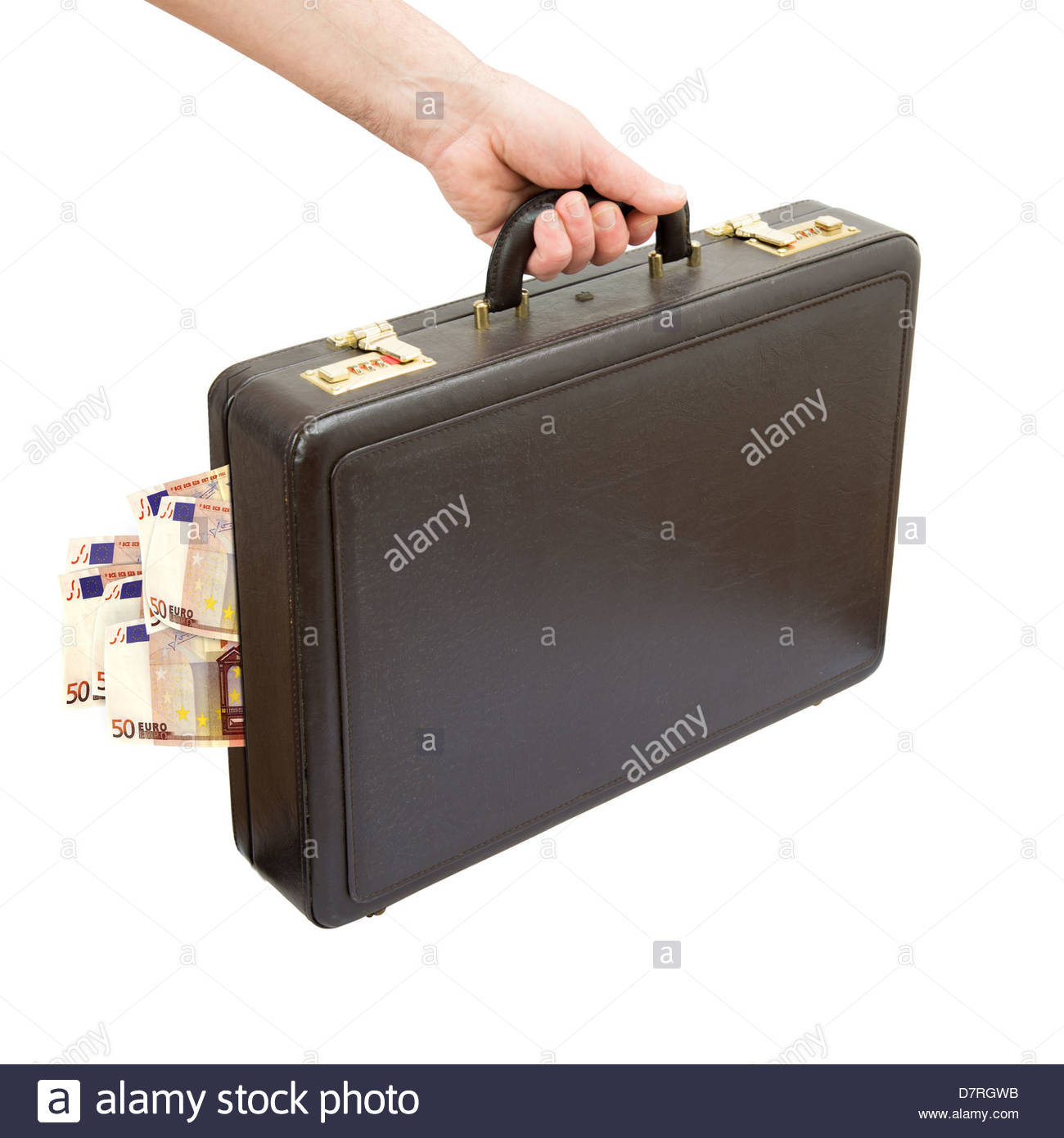 hand keeping suitcase content euro banknotes isolated - Stock Image