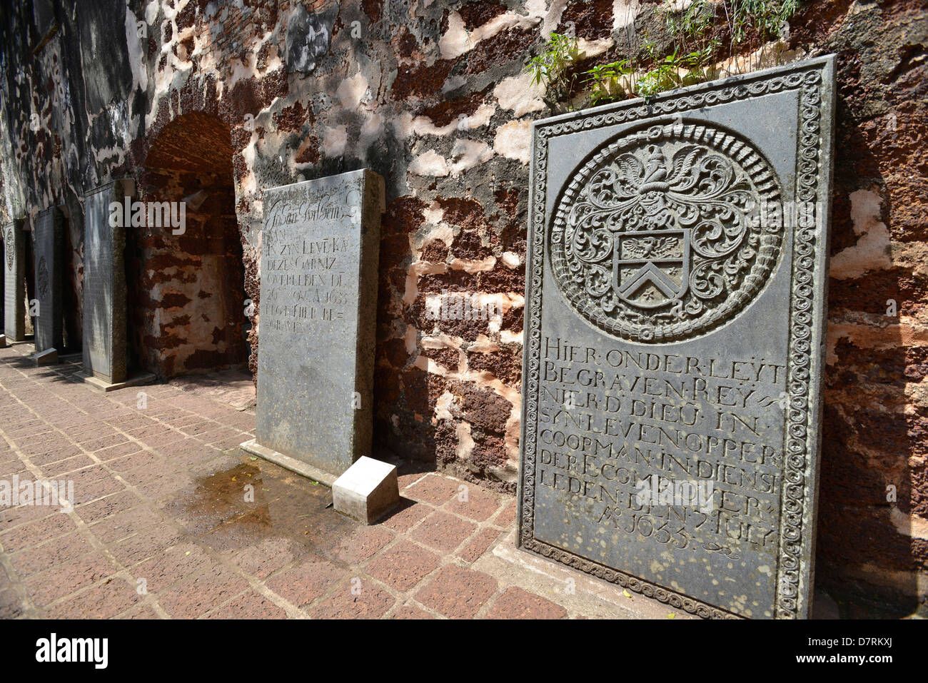 Asia Malaysia Malacca Dutch tombstones in the courtyard of St Paul's Church - Stock Image