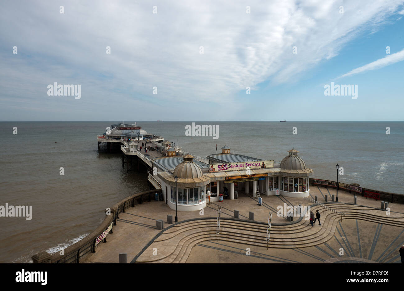 Cromer Pier on a Windy Day in April -1 - Stock Image