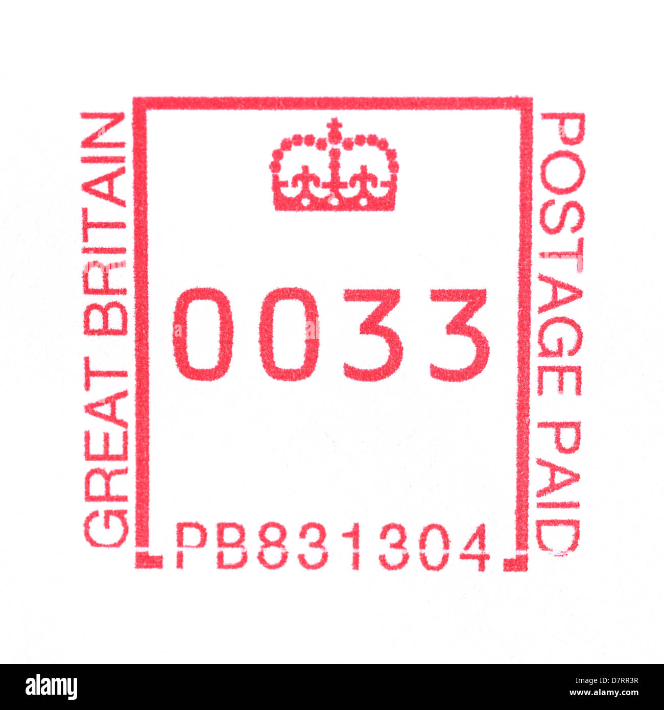 A stamp made by a Royal Mail franking machine showing 33 pence postage - Stock Image