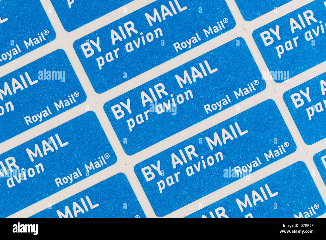 Royal Mail Air Mail stickers for letters sent by aeroplane - Stock Image