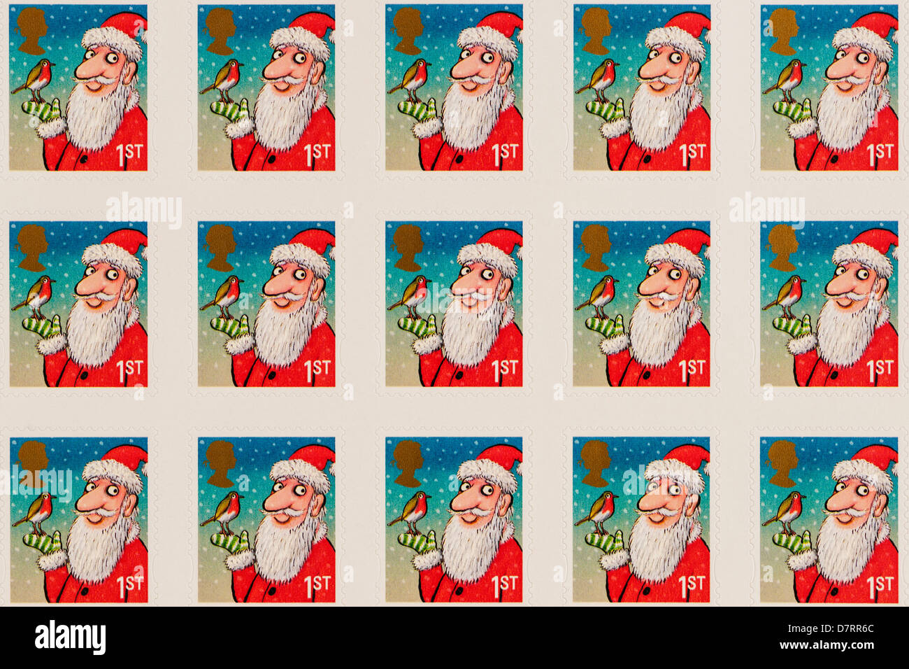 Festive Royal Mail christmas 1st class postage stamps - Stock Image