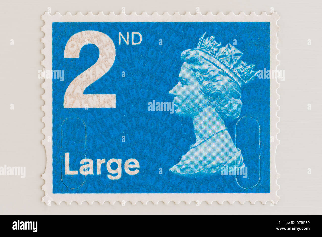 A Royal Mail 2nd class postage stamp for LARGE letters - Stock Image