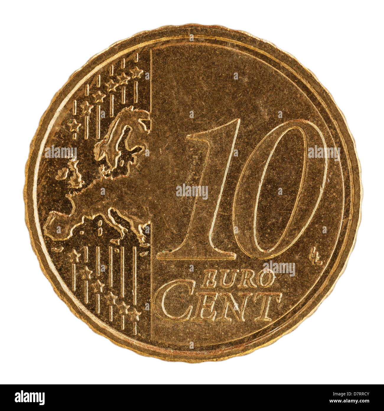 A Spanish euro 10 cent coin on a white background - Stock Image