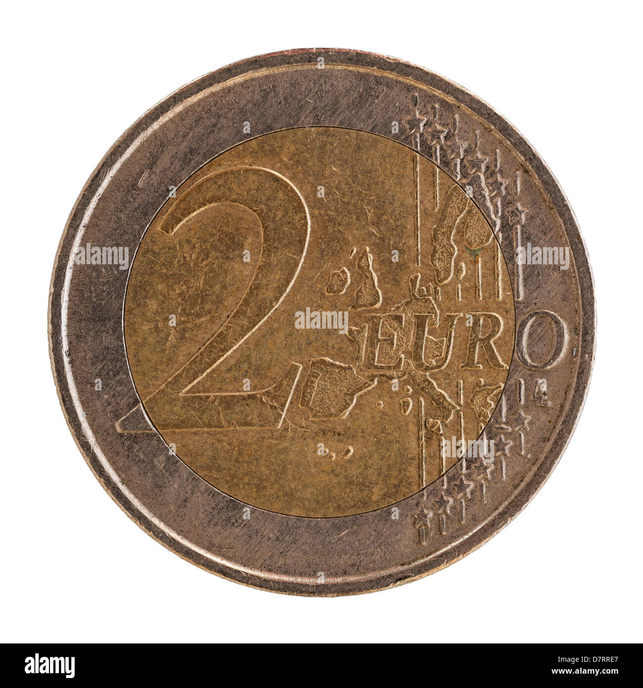 A Spanish 2 euro coin on a white background - Stock Image