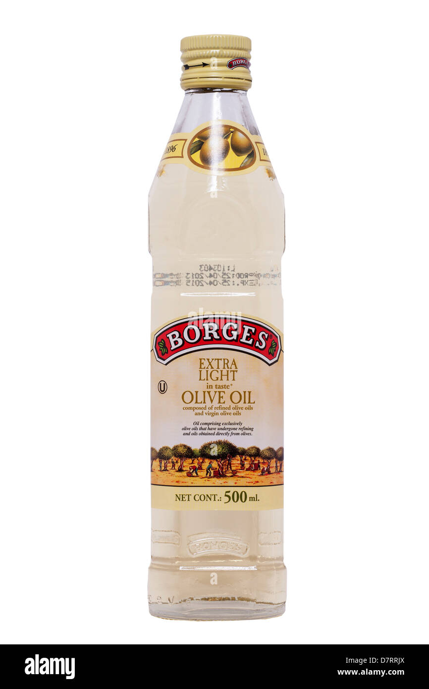 A bottle of Borges extra light Olive Oil on a white background - Stock Image