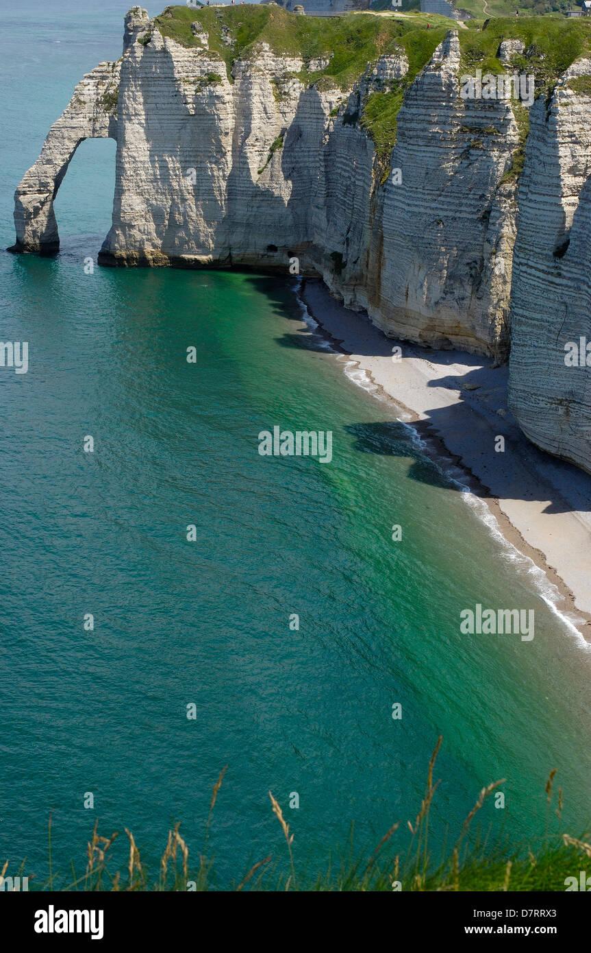 Falaise d´aval. Sea Cliff. Étretat. Côte d´Albatre. Haute-Normandie. Normandy. France - Stock Image