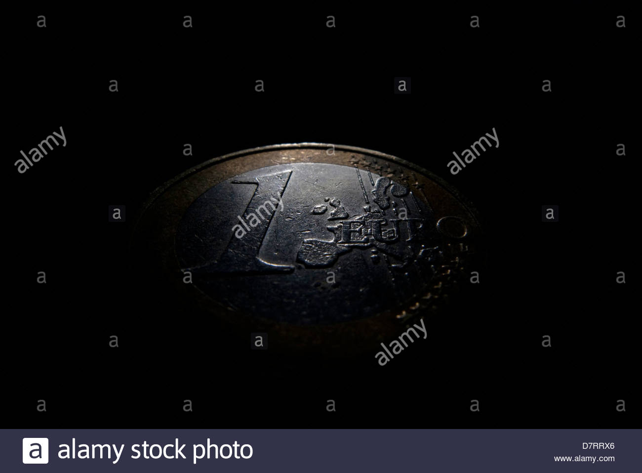 Close-up of one euro coin - Stock Image