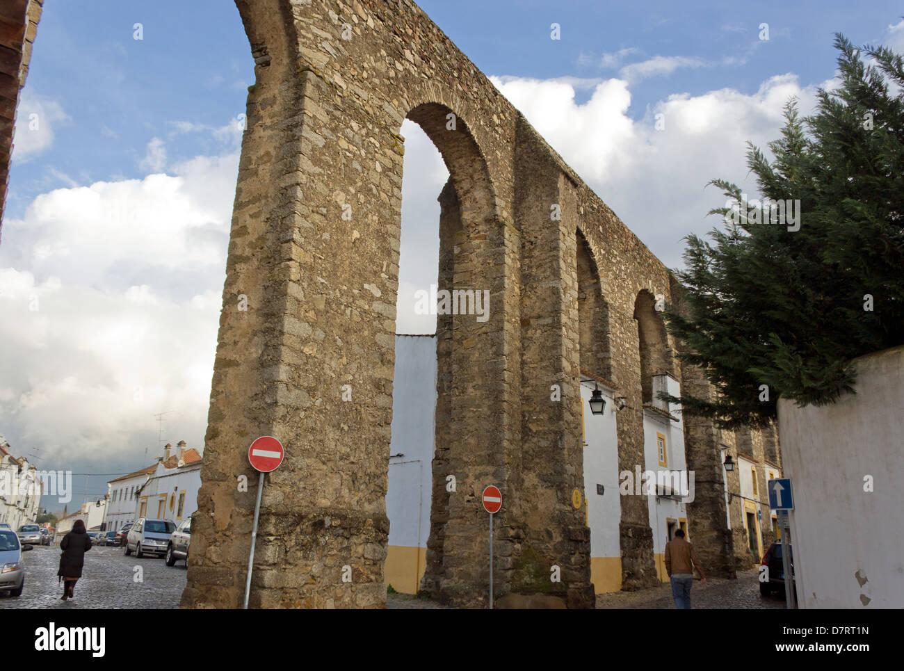 Évora, Portugal. The Água de Prata Aqueduct. - Stock Image
