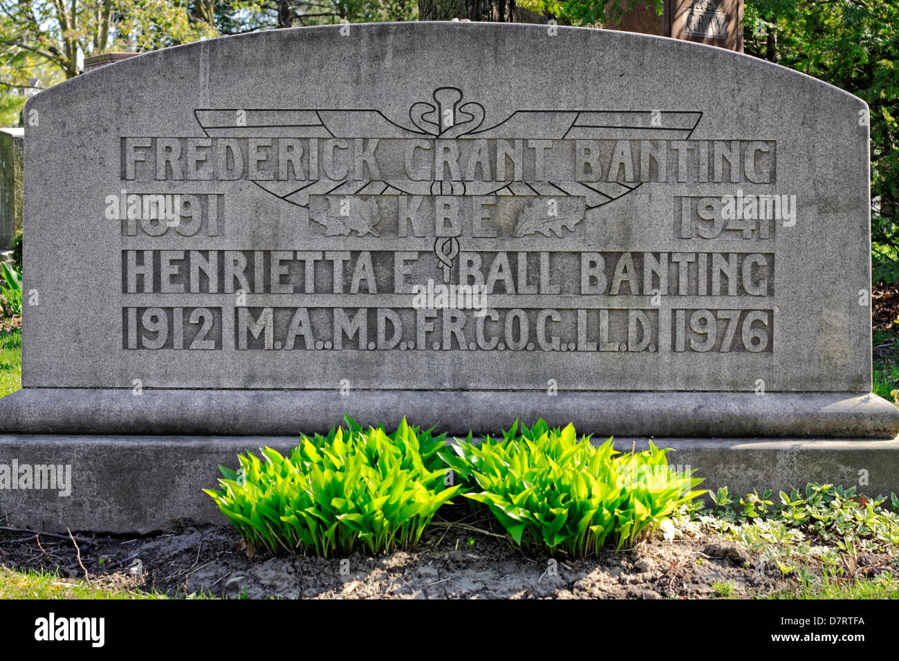 Resting Place for Dr. Banting and Wife Stock Photo