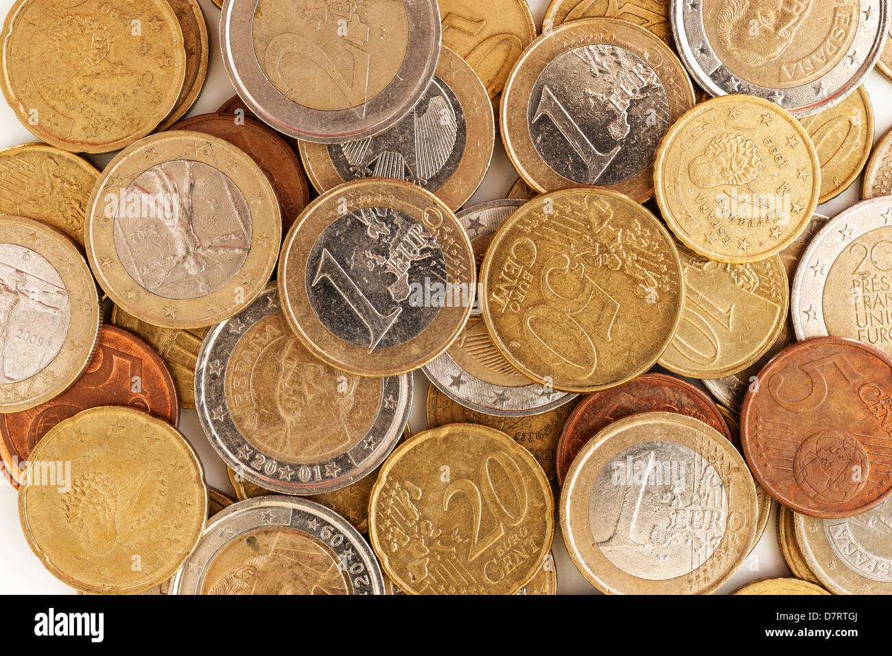 Mixed Spanish coins including euros and cents - Stock Image