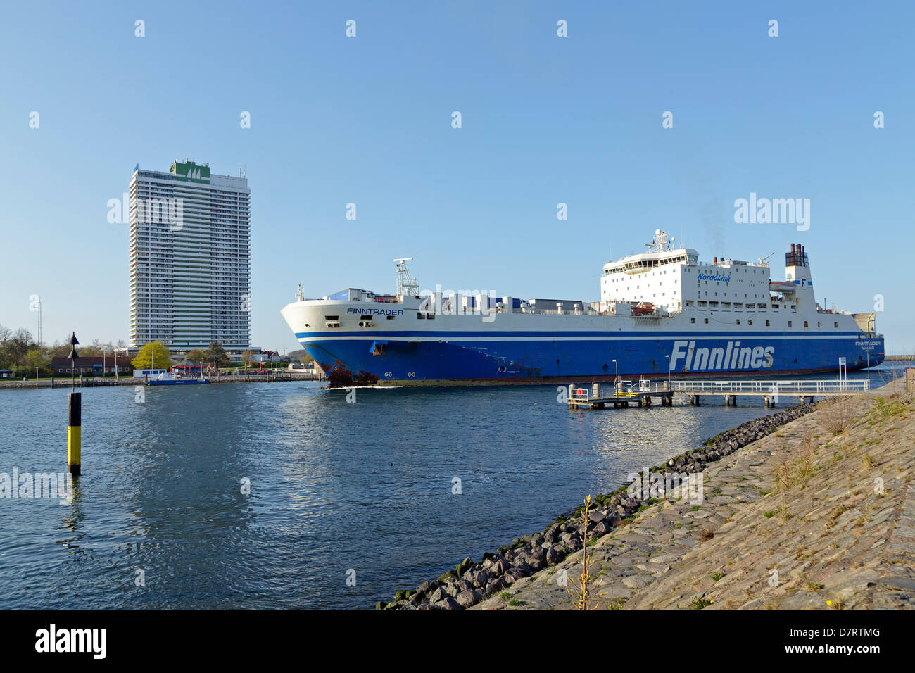 ferry arriving at Travemuende, Schleswig-Holstein, Germany - Stock Image