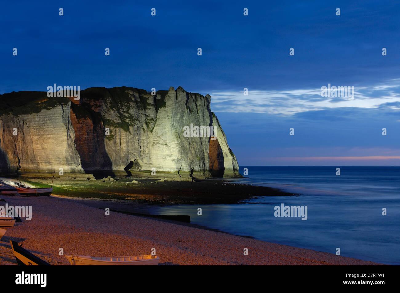 Falaise d´aval at Dusk. Sea Cliff. Étretat. Côte d´Albatre. Haute-Normandie. Normandy. France Stock Photo