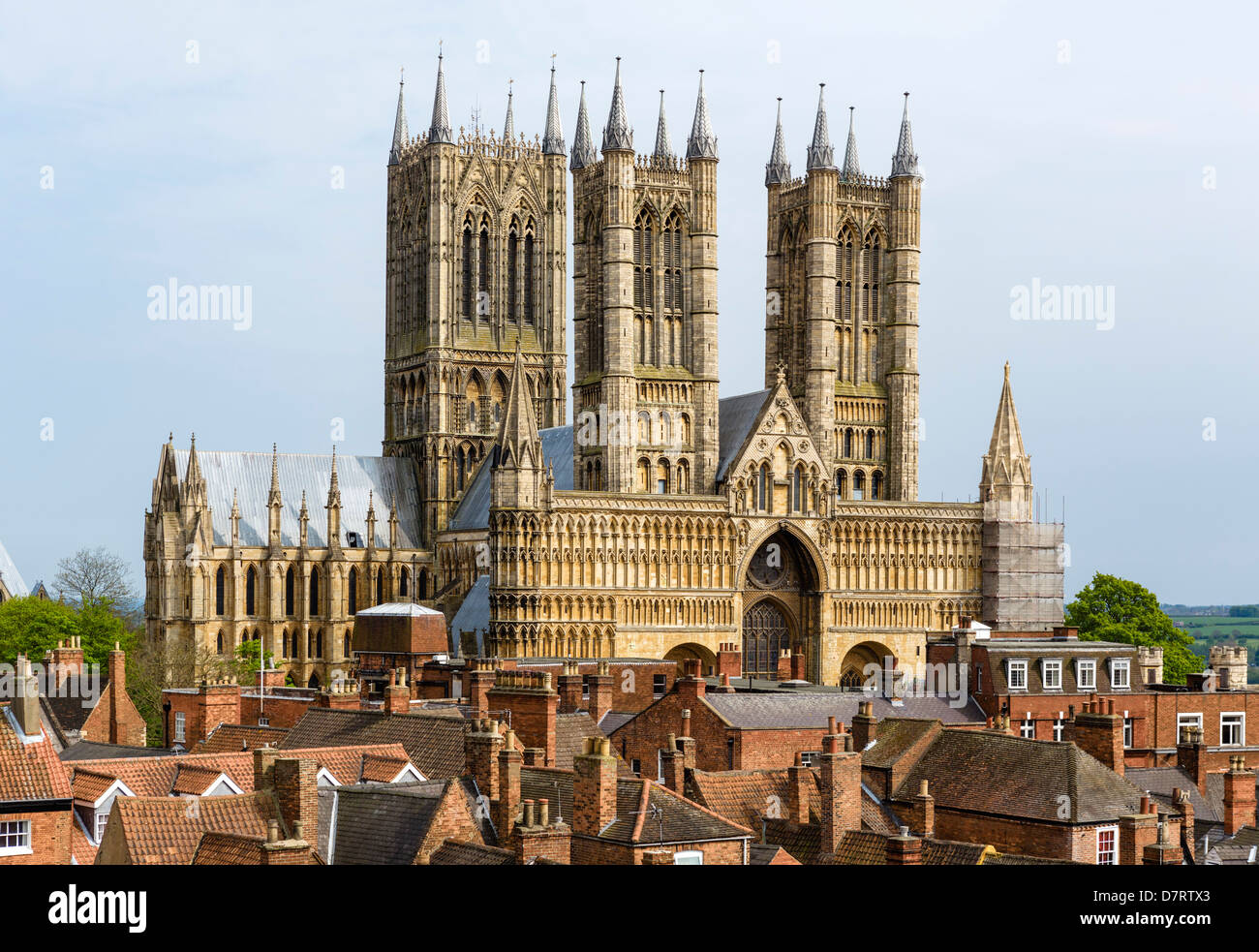 West Front of Lincoln Cathedral from the Castle walls, Lincoln, Lincolnshire, East Midlands, UK - Stock Image