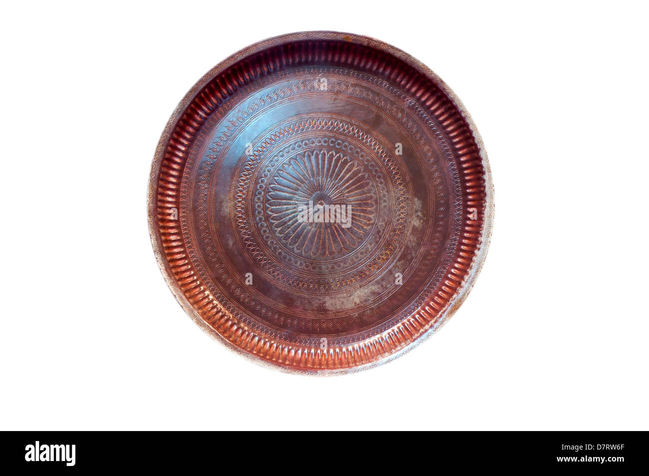 Antique copper plate isolated in white background - Stock Image