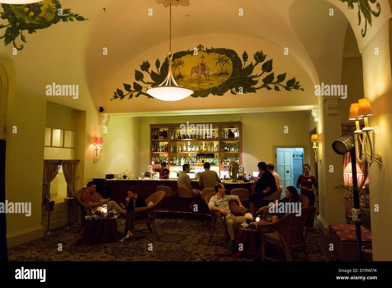 Elephant Bar lounge inside Hotel le Royal Raffles; Phnom Penh; Cambodia - Stock Image