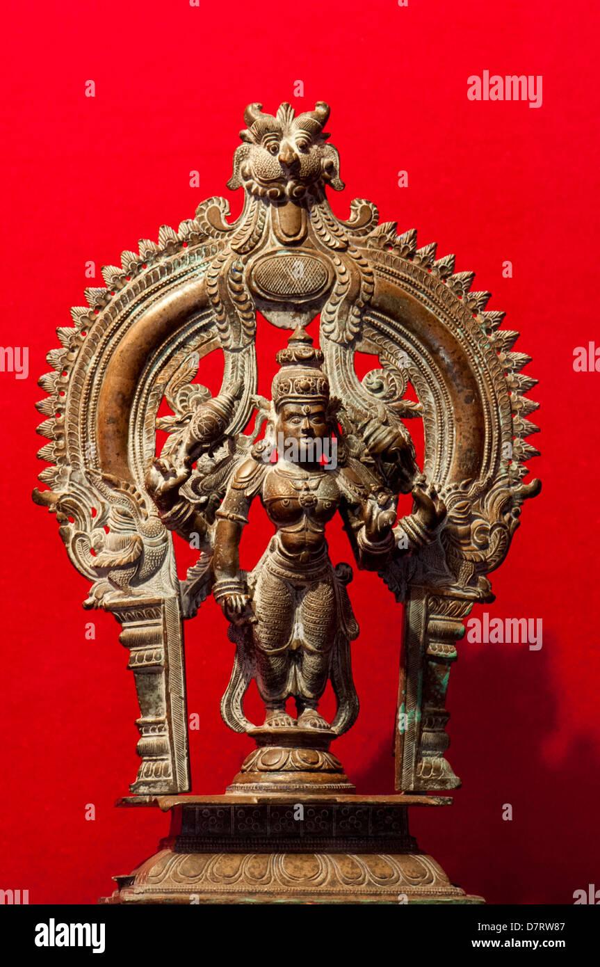 Hindu God Vishnu deity , supreme soul, the creator and destroyer of all existences - Stock Image