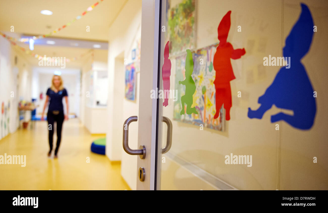 View of the entrance and hallway at daycare centre 'Wichtel Akademie' in Munich, Germany, 24 April 2013. The daycare Stock Photo