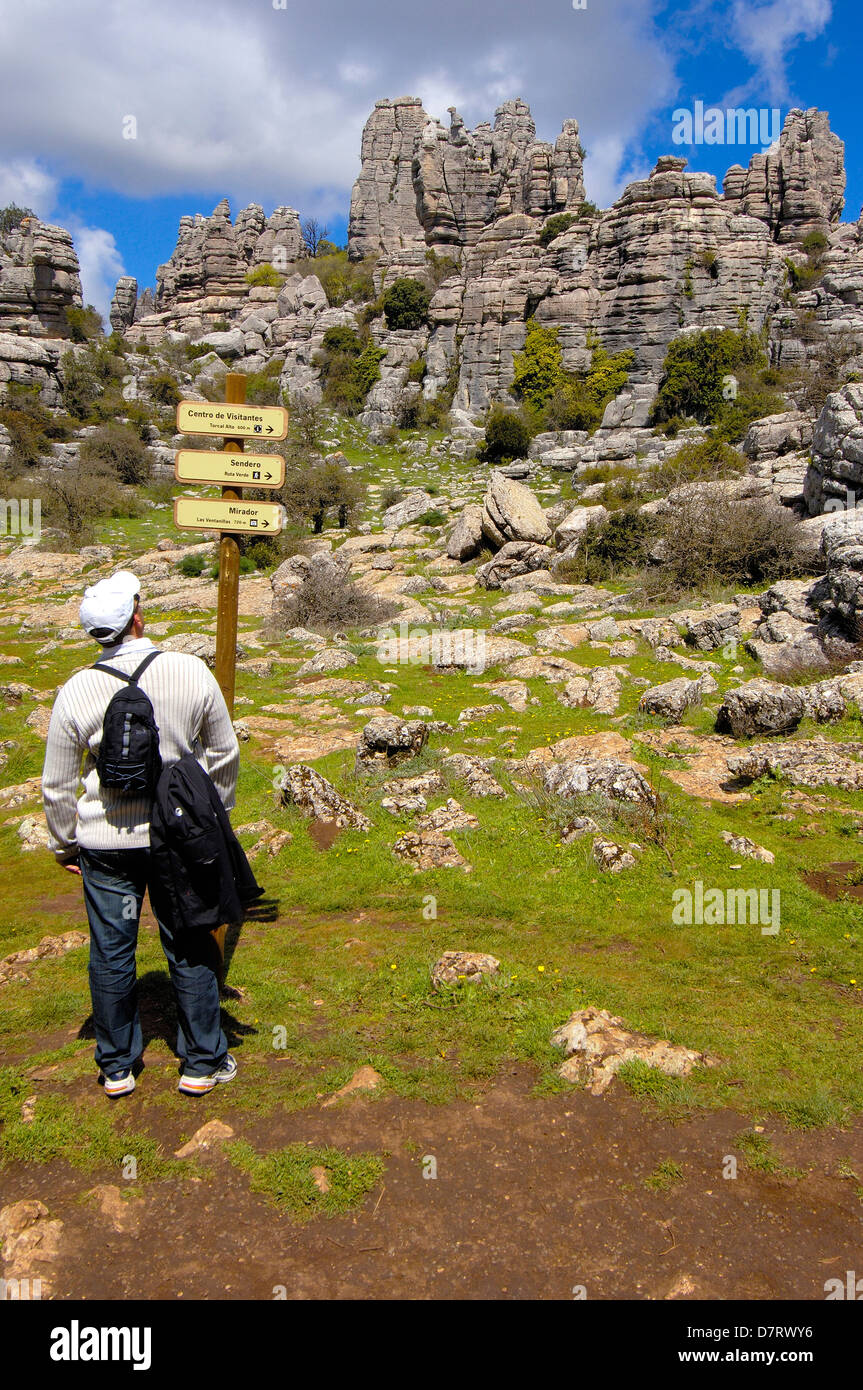 Erosion working on Jurassic limestones, Torcal de Antequera. Malaga province, Andalusia, Spain - Stock Image