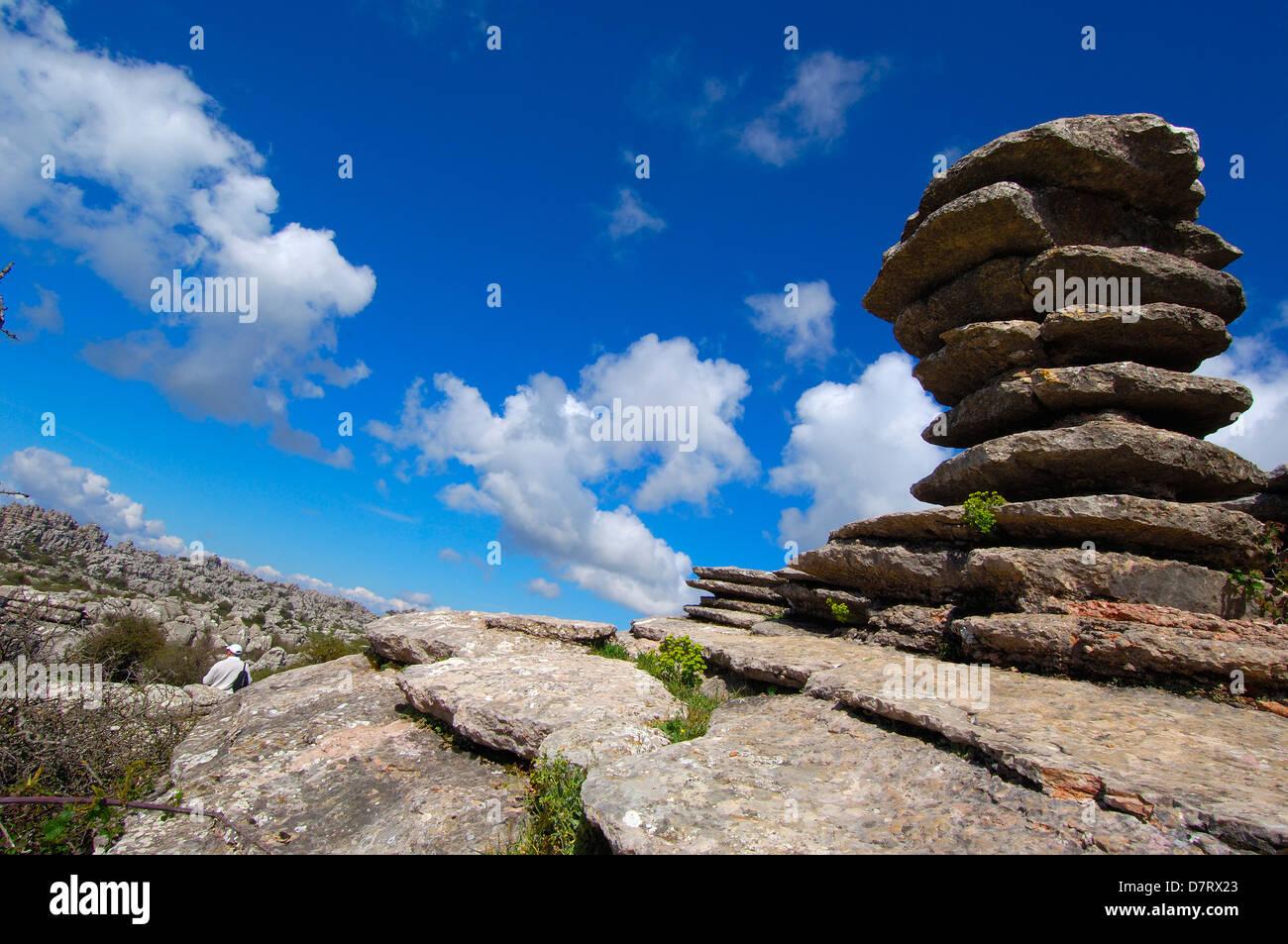 Erosion working on Jurassic limestones, Torcal de Antequera. Malaga province, Andalusia, Spain - Stock Image