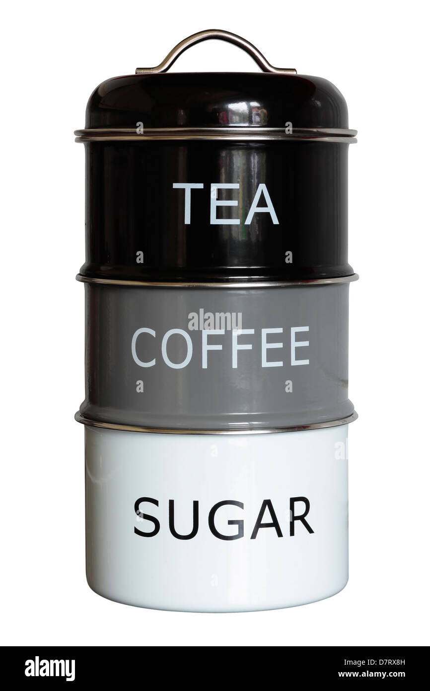 Stacked Tea Coffee and Sugar Caddy Stock Photo: 56459217 ...
