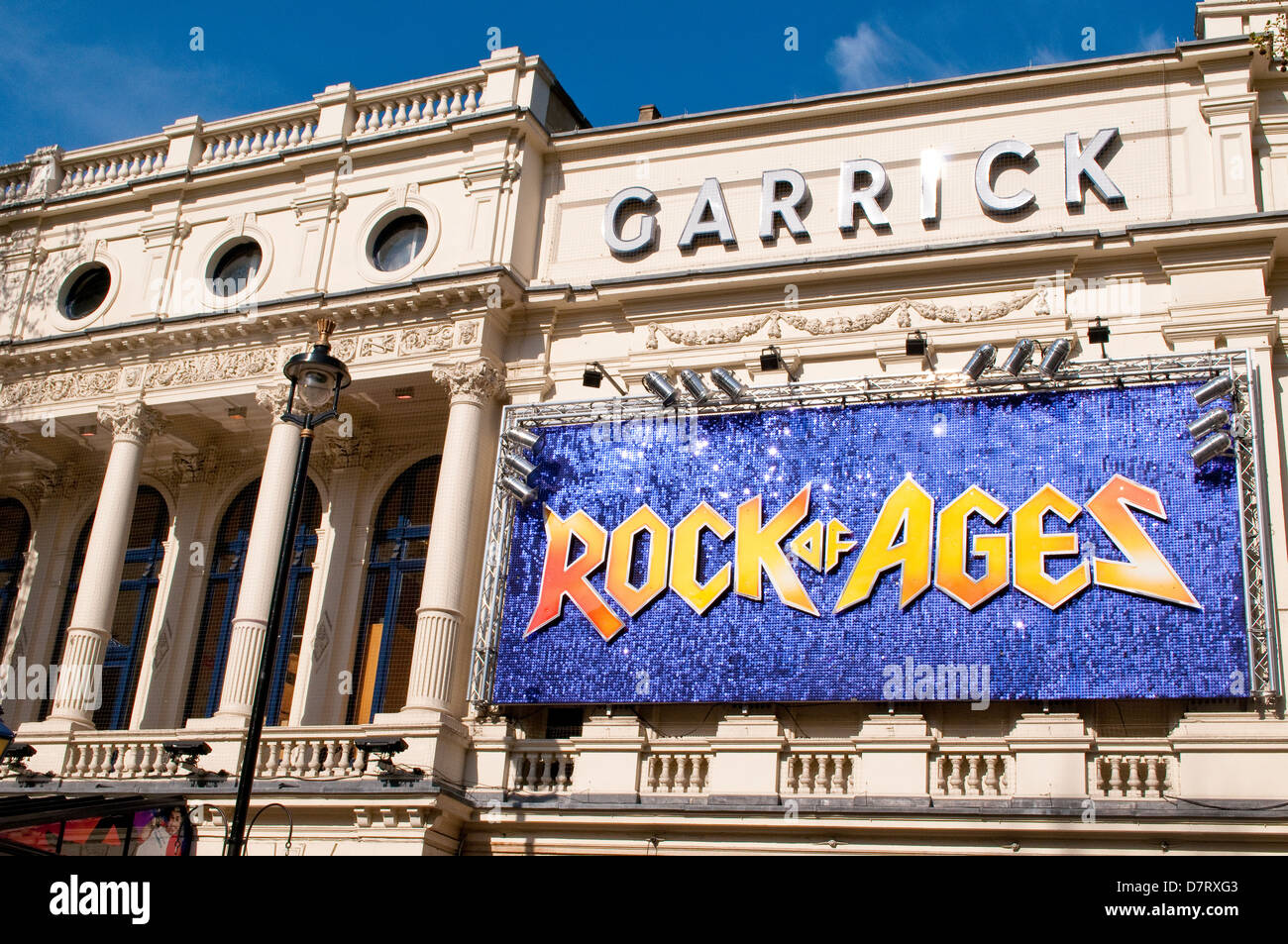 Garrick Theatre in Charing Cross Road, showing Rock of Ages, London, UK - Stock Image