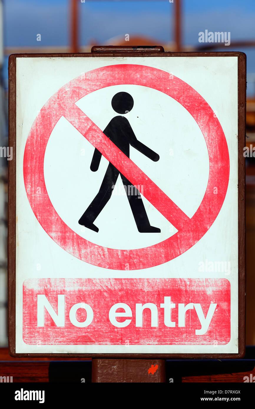A worn Pedestrian No Entry sign, Scotland, UK Stock Photo