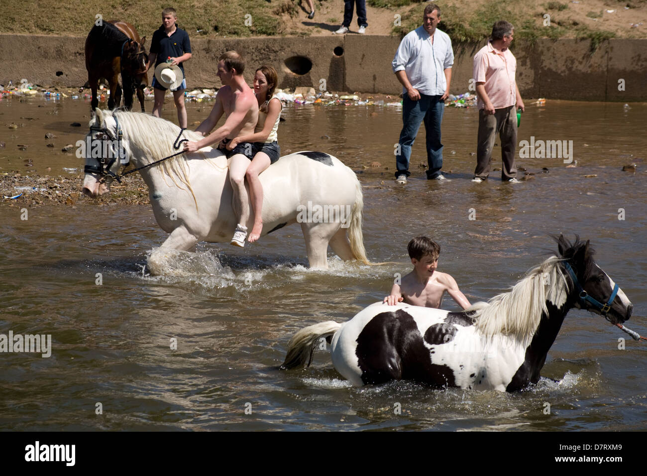 People and horses in the river at the Appleby Fair, an annual gathering of Gypsy and Traveller communities in Cumbria, Stock Photo