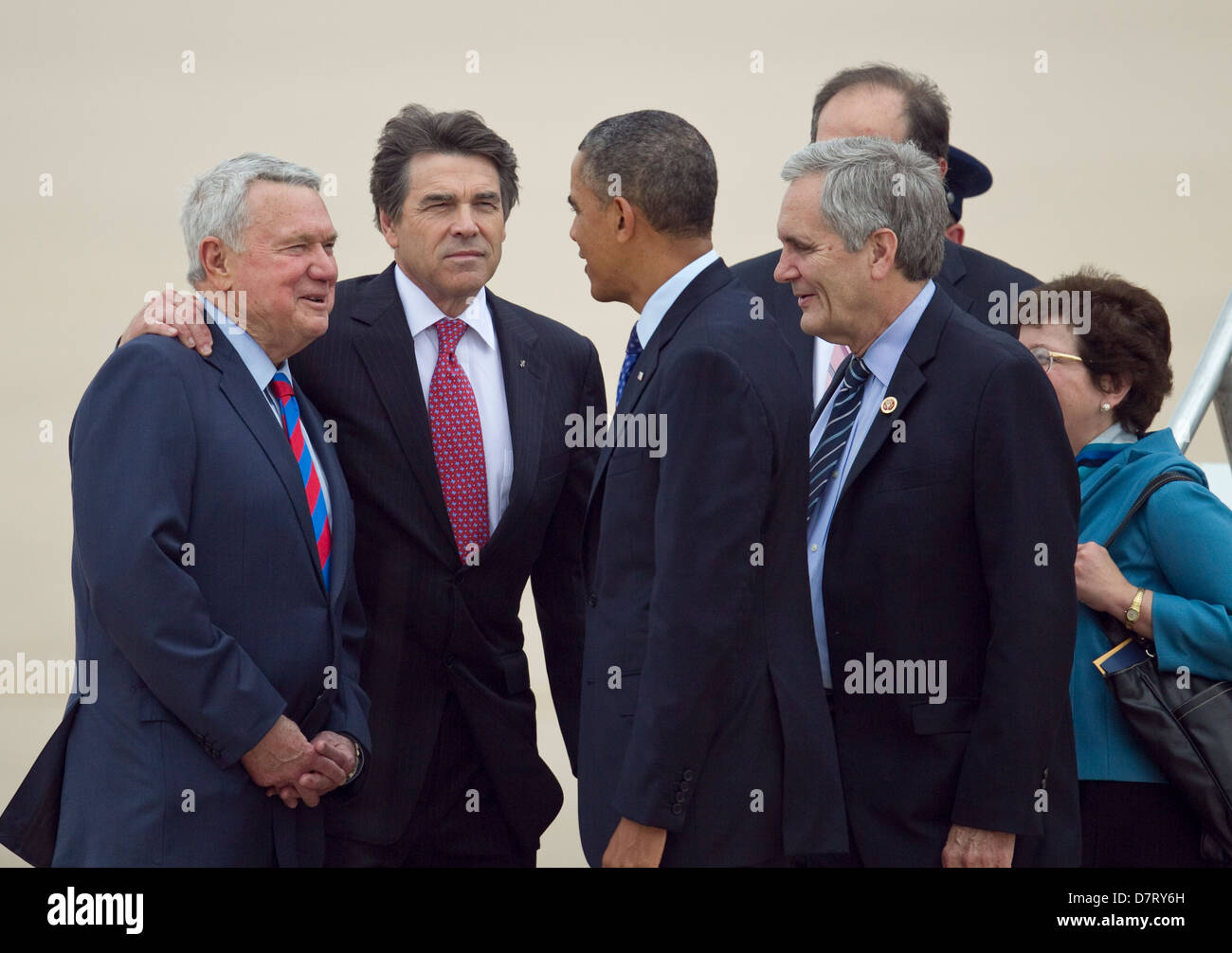 President of the United States, Barack Obama is greeted by various politicians after landing in Austin, Texas - Stock Image