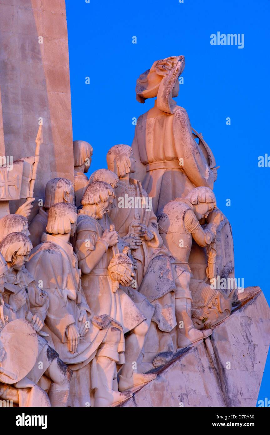 Monument to the Discoveries at Dusk, Padrao dos Descobrimentos, Belem, Lisbon, Portugal - Stock Image