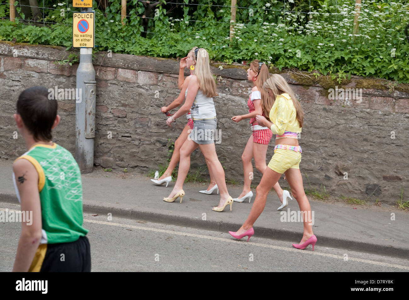 Young women at the Appleby Fair, an annual gathering of Gypsy and Traveller communities from UK and Ireland in Cumbria, - Stock Image