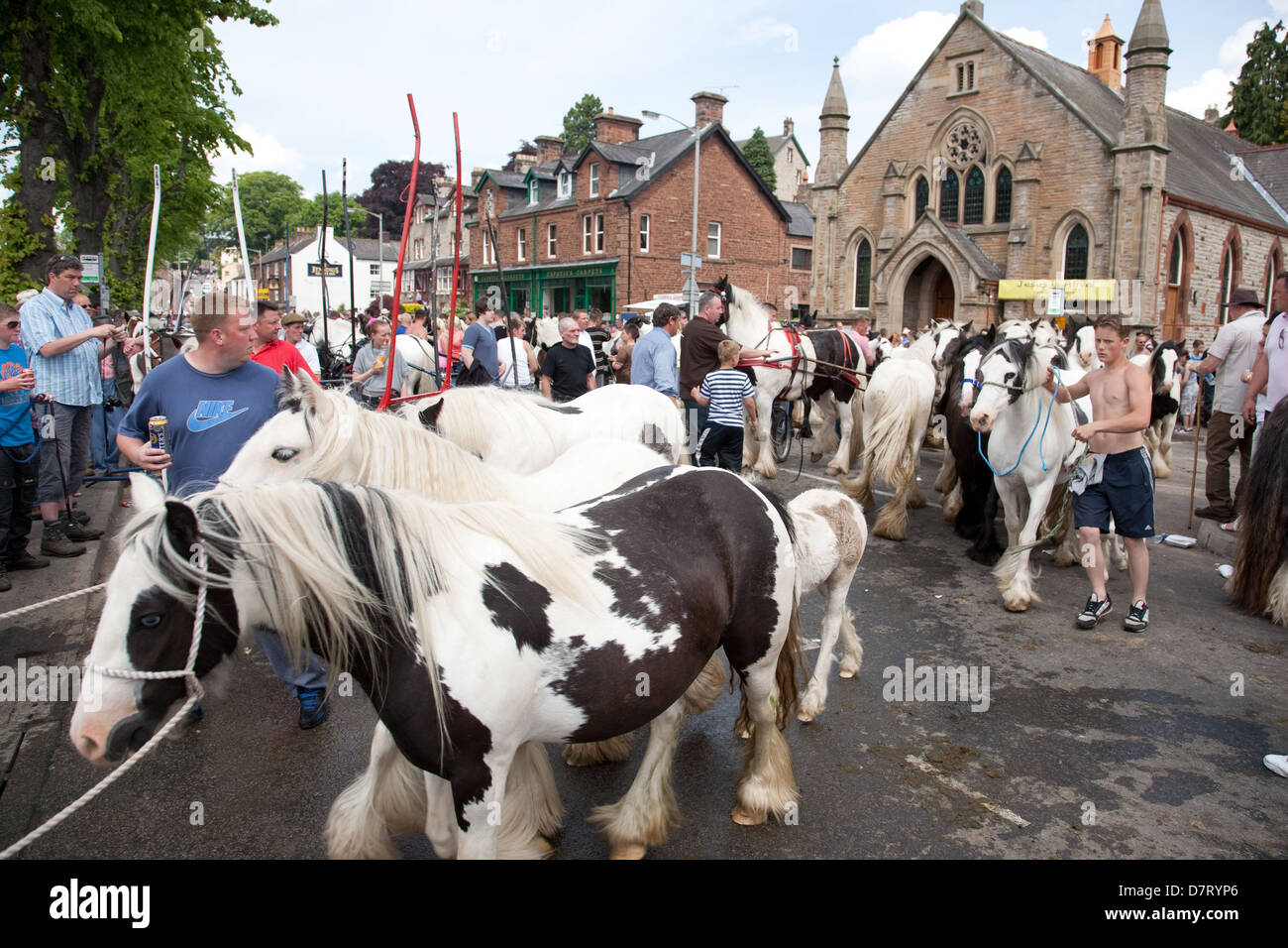 The Sands road during the Appleby Fair, an annual gathering of Gypsy and Traveller communities from UK and Ireland - Stock Image