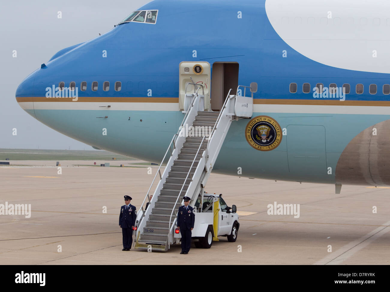 Air Force One, the official aircraft of the President of the United States, in Austin, Texas in May for an official - Stock Image