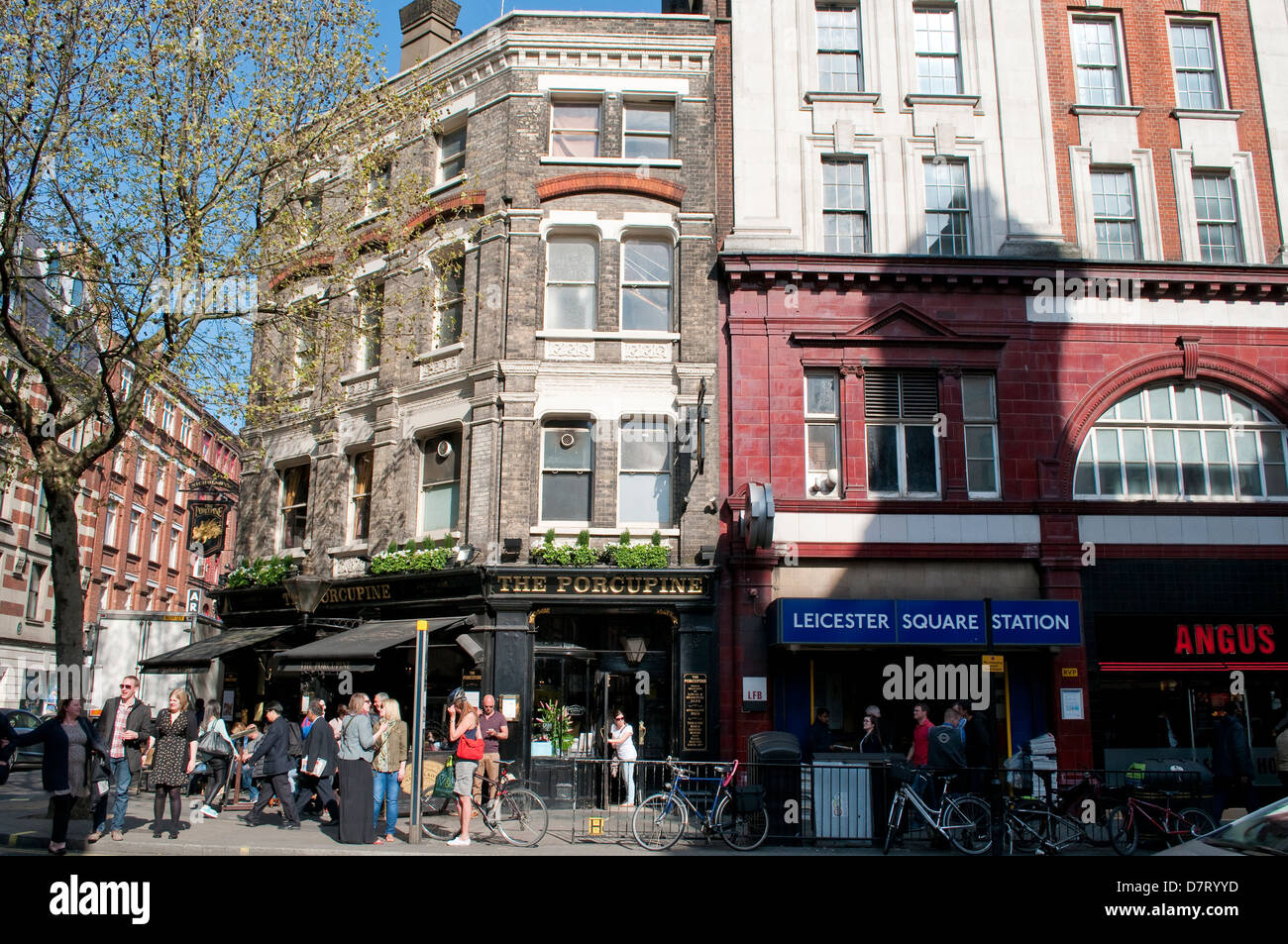 The Porcupine Pub next Leicester Square tube station, Charing Cross Road, London, UK - Stock Image