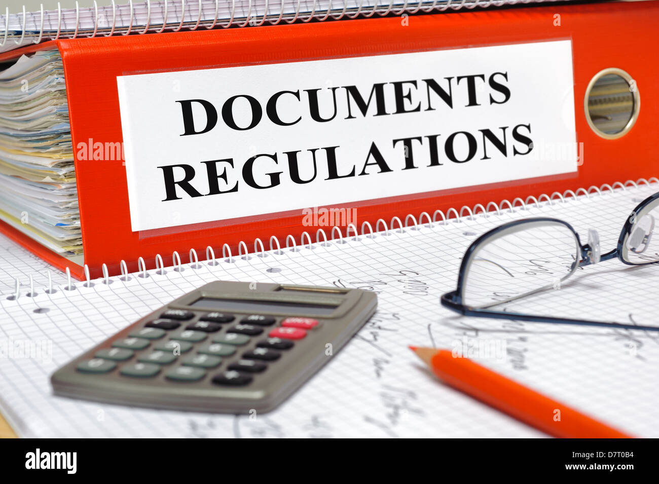 folder marked with documents and regulations - Stock Image