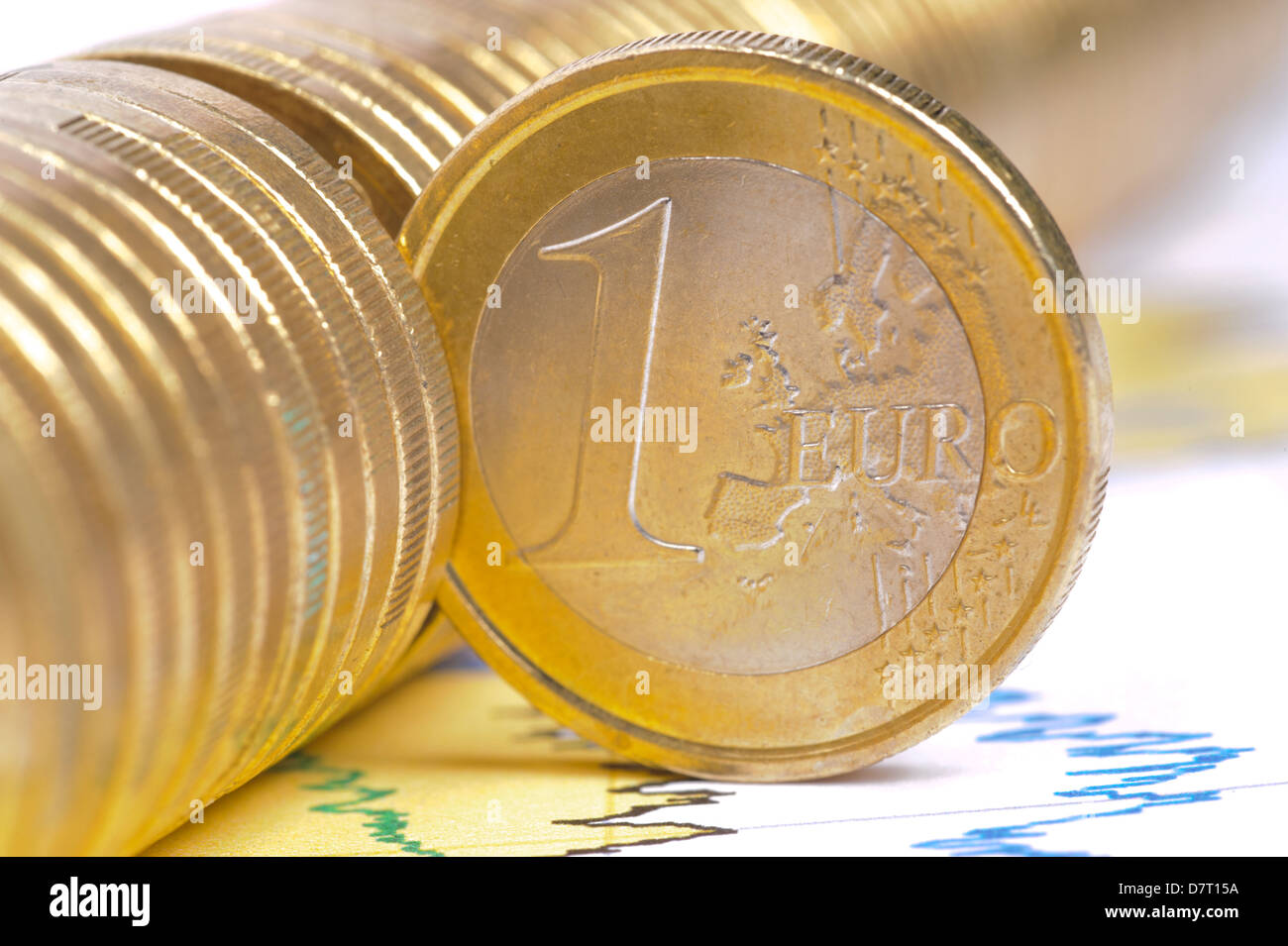 one single euro coin on business chart - Stock Image