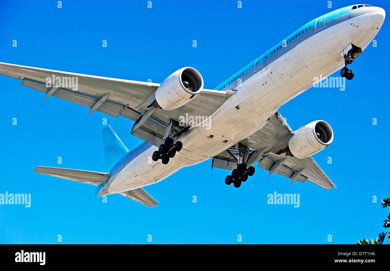 Jet Plane Approaching a Landing - Stock Image