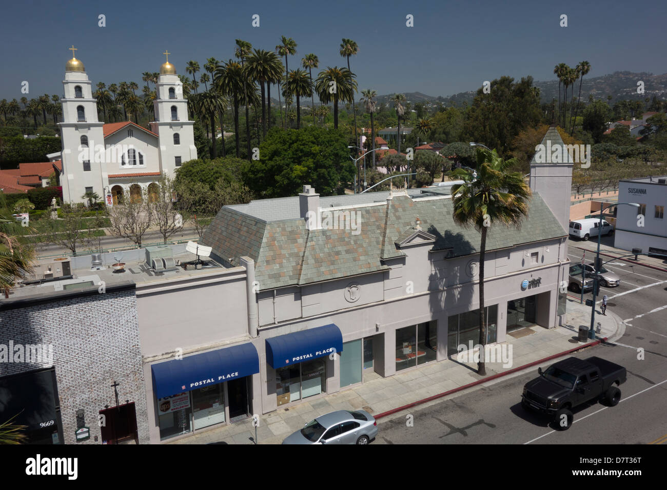 Church and street in Beverly Hills; California USA - Stock Image