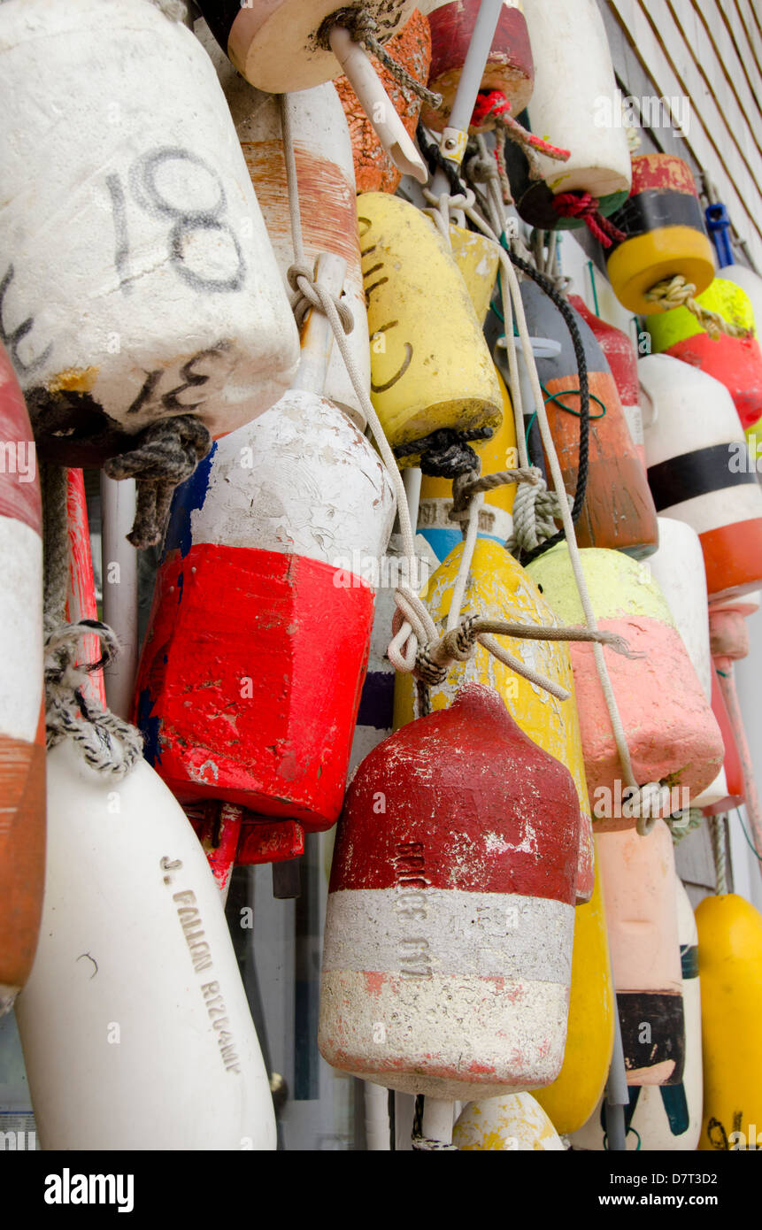 Rhode Island, Block Island. Colorful fishing floats. - Stock Image