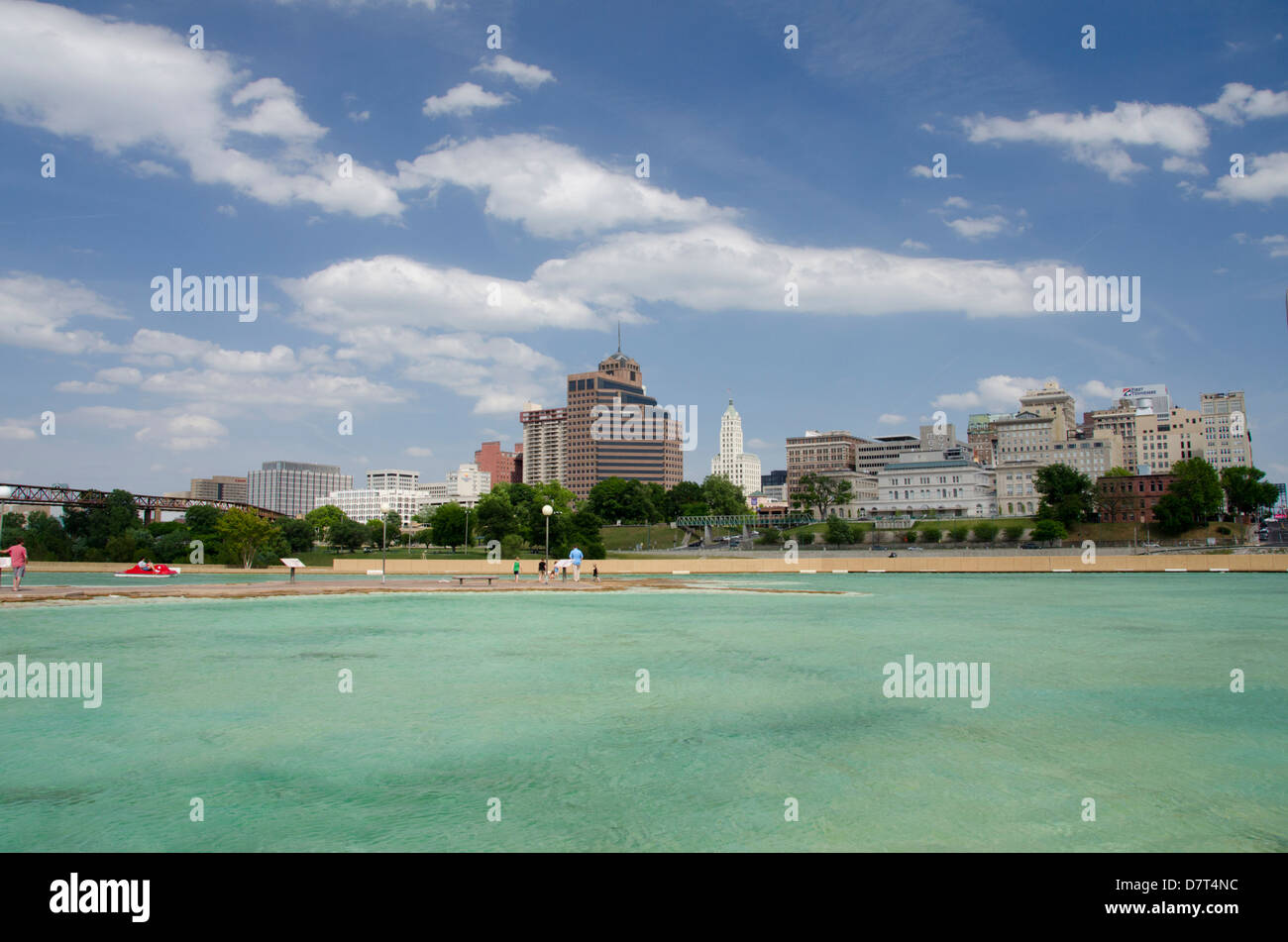 Tennessee, Memphis. Mud Island River Park. 'Gulf of Mexico' recreation pond. Memphis city skyline in distance. - Stock Image