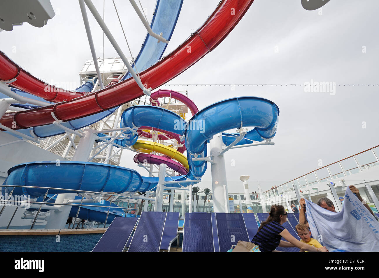 One of five water slides on Norwegian Cruise Line's newest ship, Norwegian Breakaway, launched in May 2013. - Stock Image