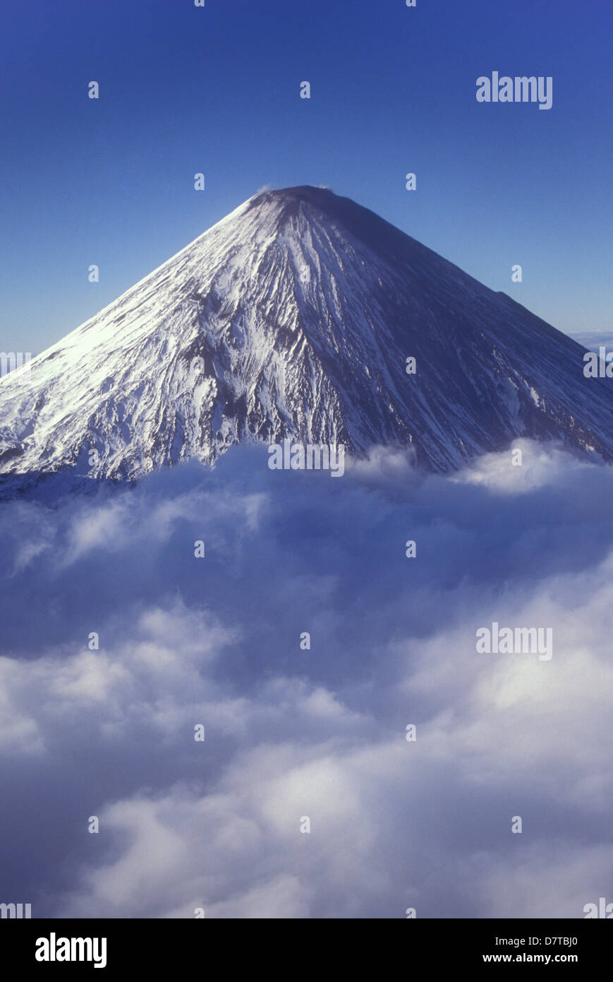 aerial of Klyuchevskaya volcano, highest volcano in Eurasia, Kamchatka, Russia Stock Photo