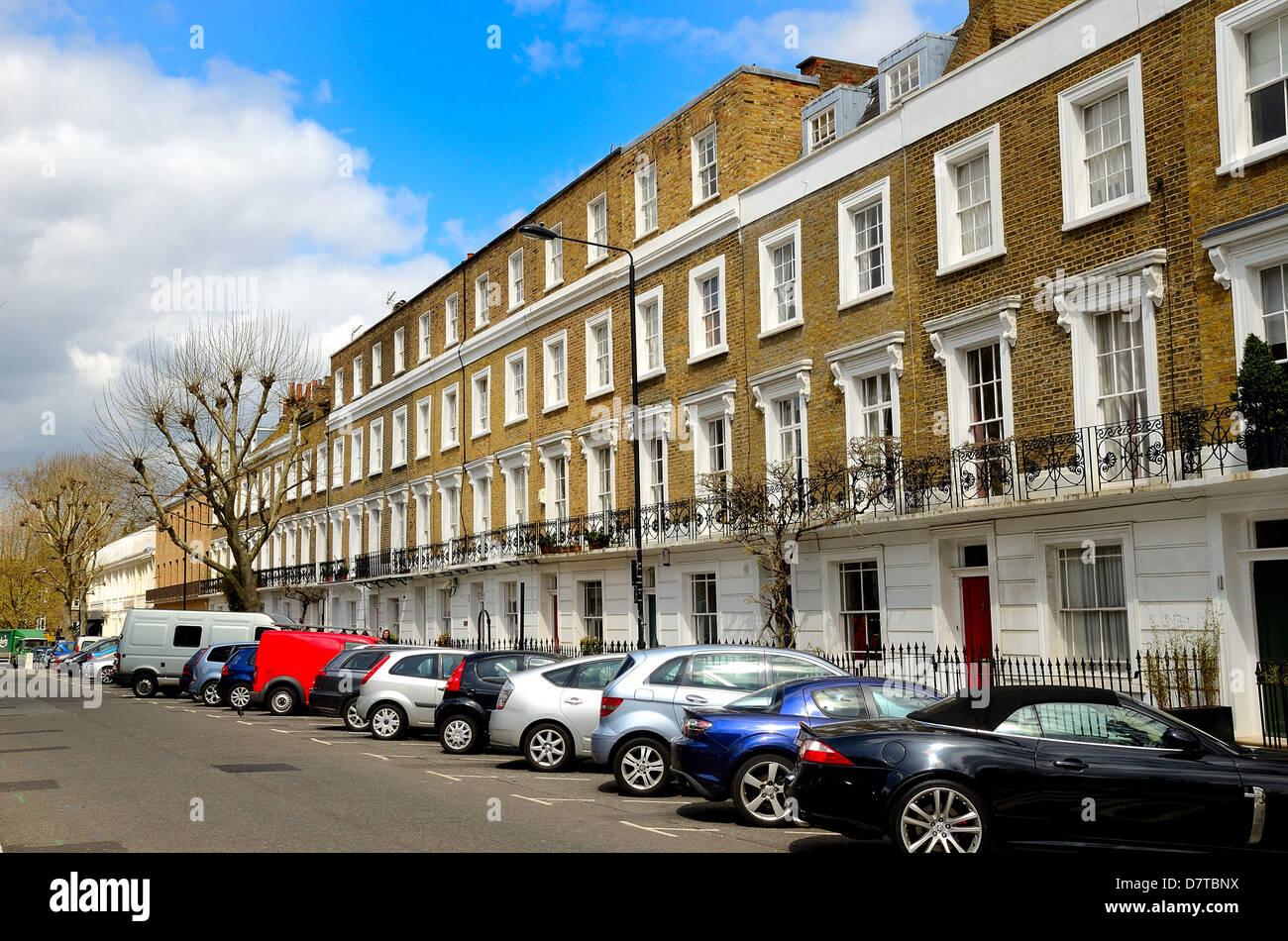 Terraced houses Albert Street Camden Town North London - Stock Image