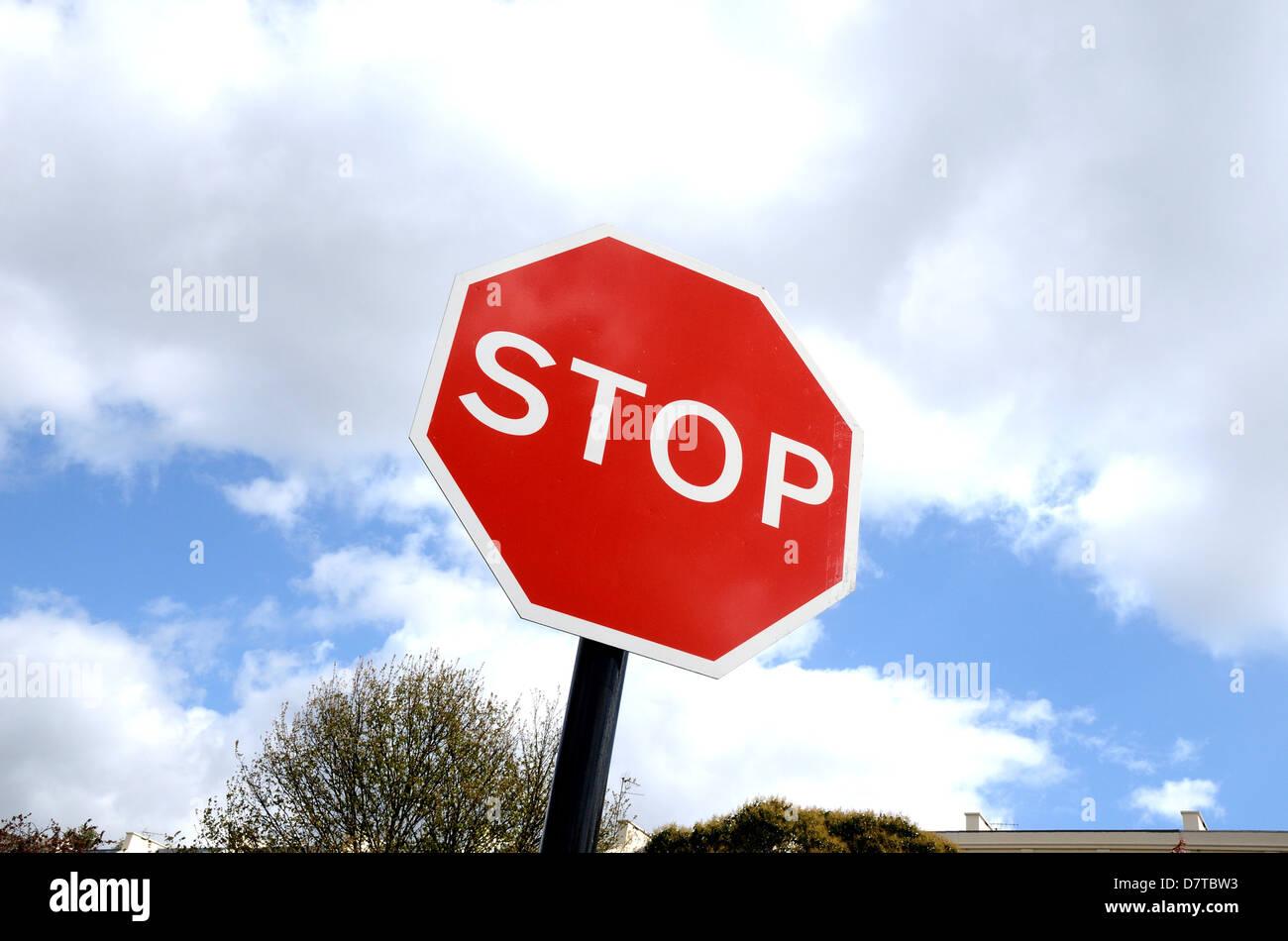 British highway Stop traffic sign - Stock Image